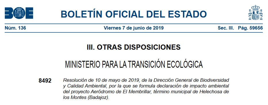 Declaración de Impacto Ambiental favorable de un aeródromo en Extremadura