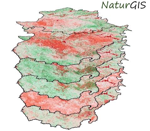 Cartografía de la evolución anual del índice de vegetación NDVI en Extremadura