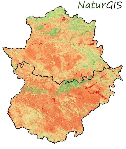 Mapa del Índice de Vegetación NDVI en Extremadura