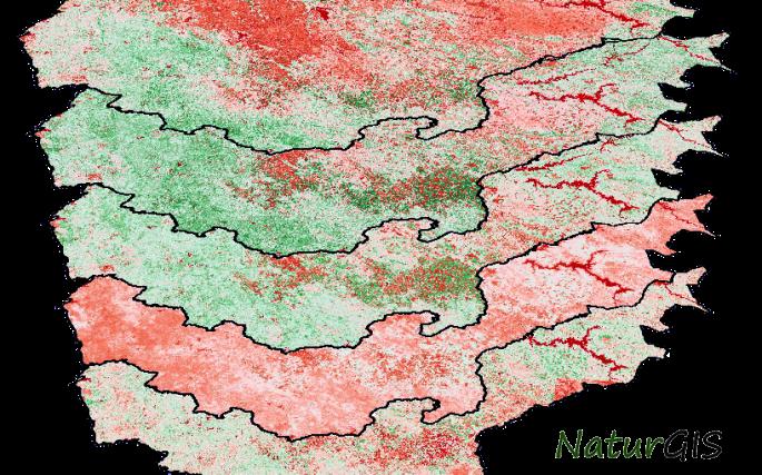 Índice NDVI de Extremadura NaturGIS