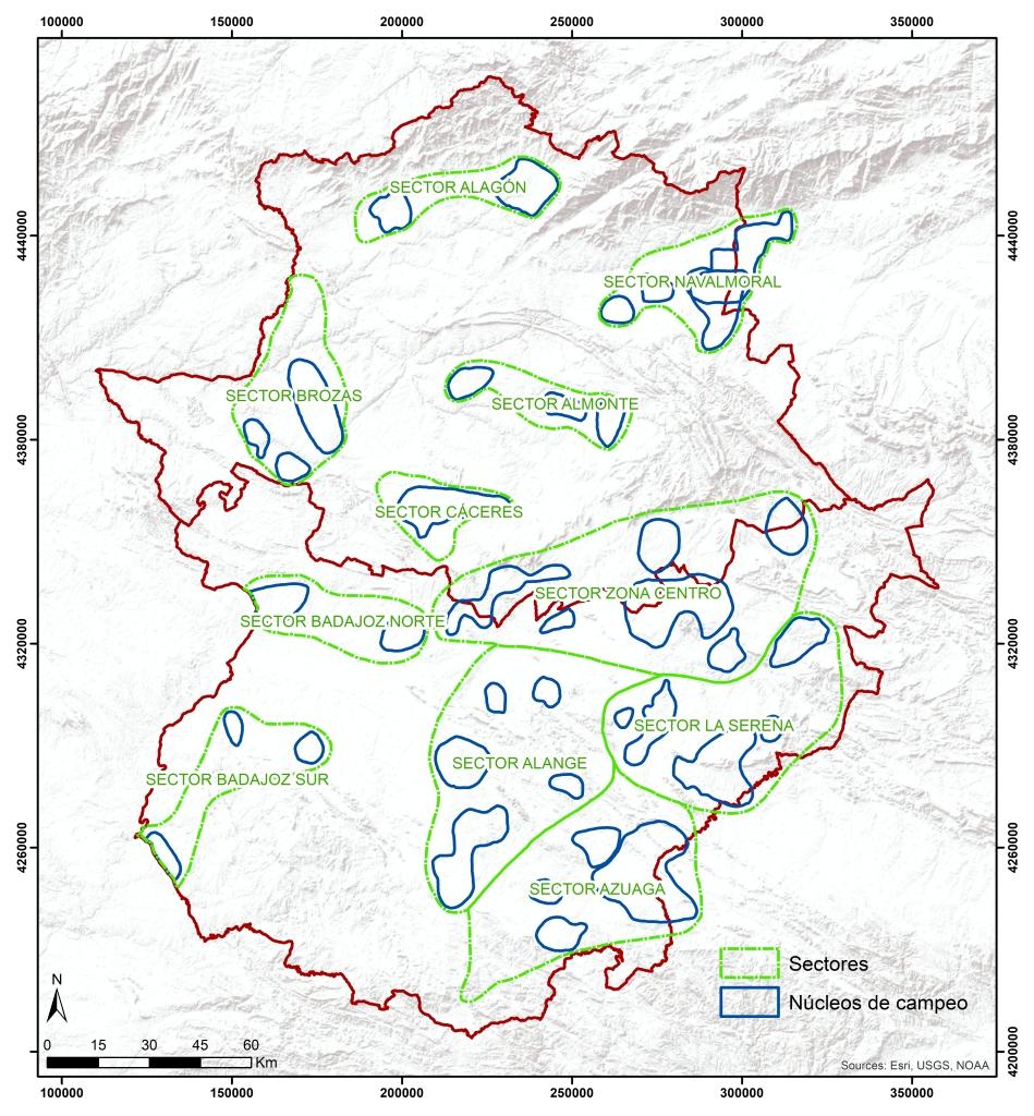 Sectores y núcleos de campeo preferenciales de la Grulla común en Extremadura